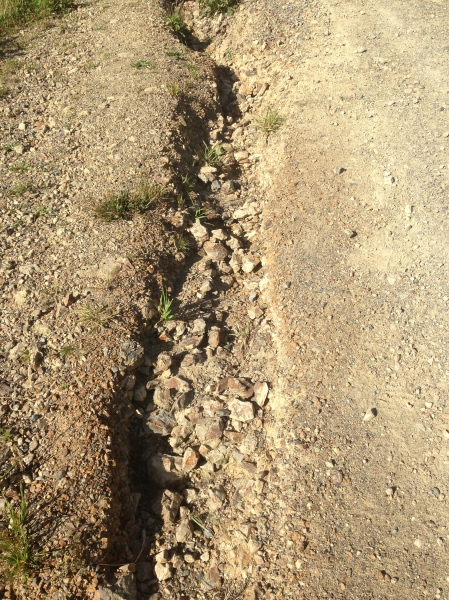 Most of the path looked like this - loose rock, ditches